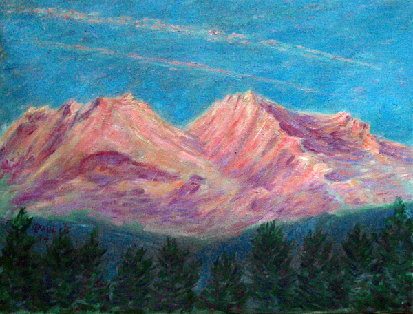 """April Sunset on Mt. Shasta"" Mt. Shasta oil painting and prints by Pointillistic/Impressionist painter Paul Berenson"