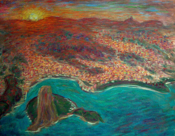 """Sunrise Over Rio"" Brazil oil painting and prints by Pointillistic/Impressionist painter Paul Berenson"