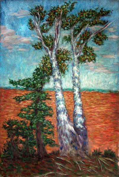 """Lake Superior Birch Trees"" Lake Superior oil painting and prints by Pointillistic/Impressionist painter Paul Berenson"