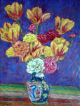"""Tulips Ranunculas in a Chinese Vase"""