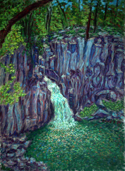 """Upper Falls of the McCloud River"" Waterfalls oil painting and prints by Pointillistic/Impressionist painter Paul Berenson"