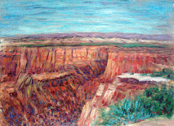 """Utah Mesa"" Western Landscape oil painting and prints by Pointillistic/Impressionist painter Paul Berenson"