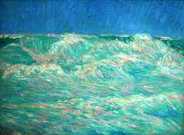 """Hawaiian Wave"" Hawaii oil painting and prints by Pointillistic/Impressionist painter Paul Berenson"