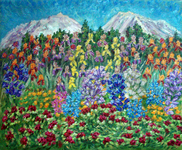 """Williams Spring Garden"" Flower Gardens oil painting and prints by Pointillistic/Impressionist painter Paul Berenson"