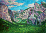 """Yosemite Valley and Cliffs with Half Dome"""